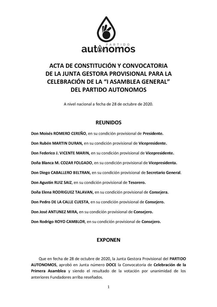 Convocatoria I Asamblea al partido autónomos