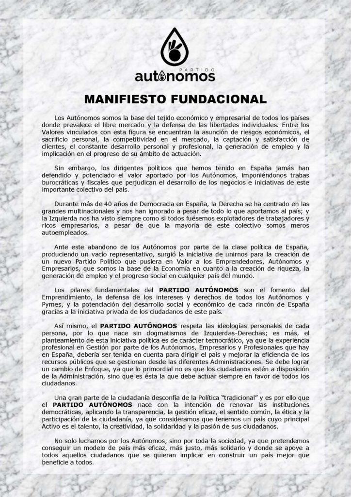 Manifiesto Fundacional Partido Autónomos